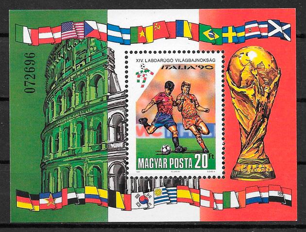 filatelia colección fútbol Hungría 1990