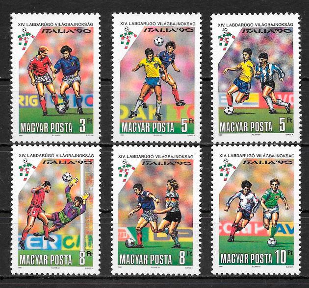 colección sellos fútbol Hungría 1990