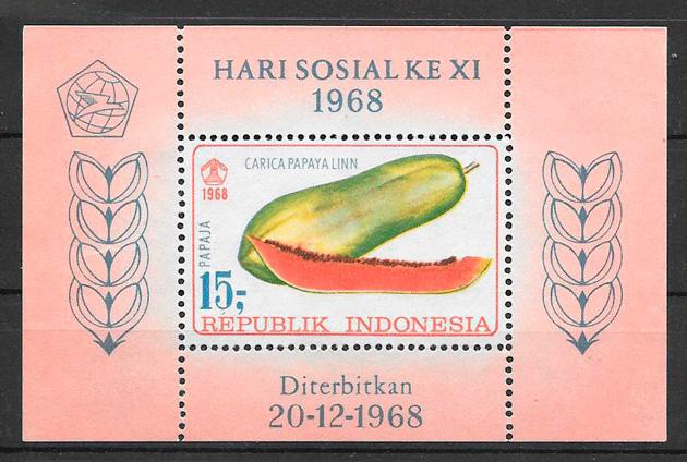 sellos frutas Indonesia 1968