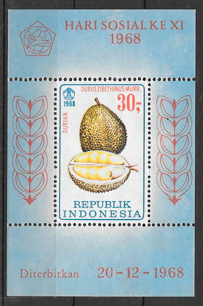 filatelia frutas Indonesia 1968