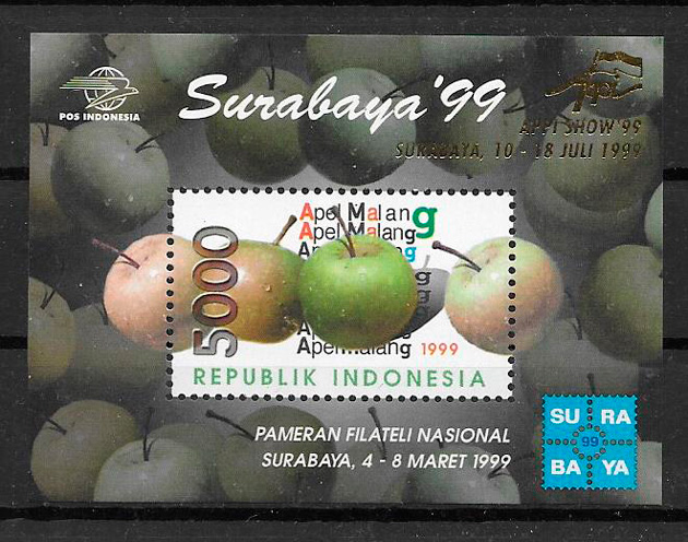 filatelia frutas Indonesia 1999