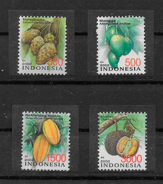filatelia colección frutas Indonesia 2002