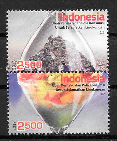 filatelia colección frutas Indonesia 2013