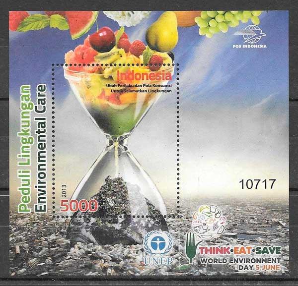 colección sellos frutas Indonesia 2013