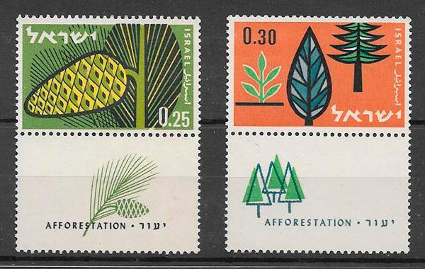 colección selos frutas Israel 1961