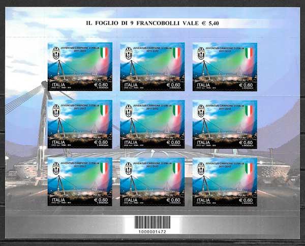 colección sellos fútbol Italia 2012