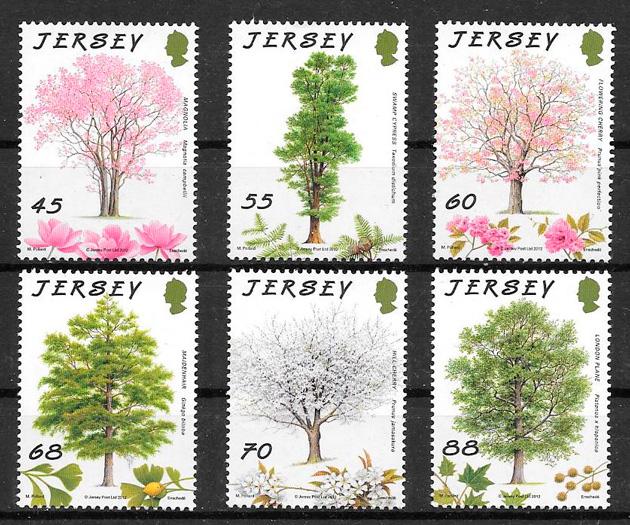 filatelia colección frutas Jersey 2012