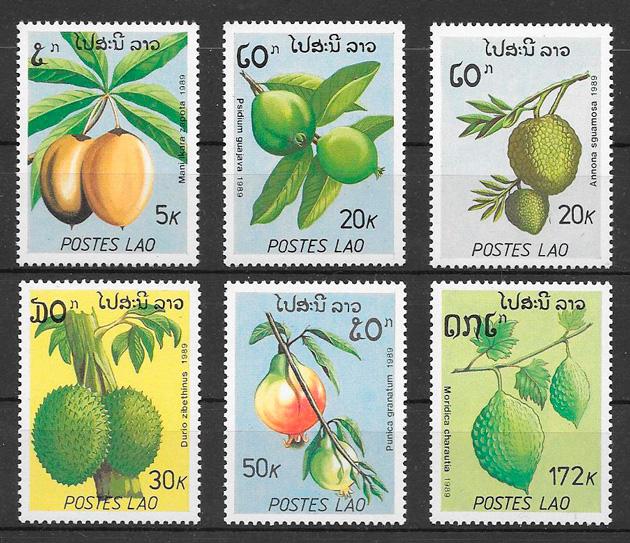 colección sellos Laos frutas 1989