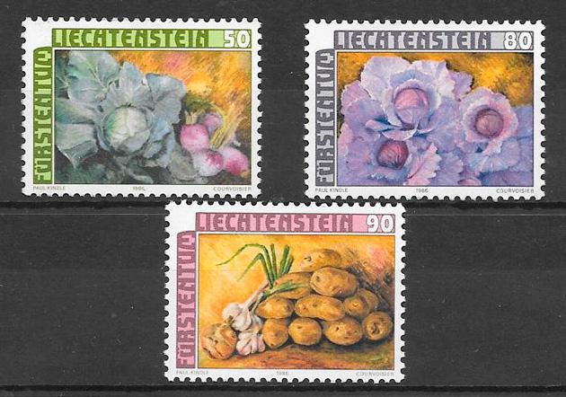 colección sello frutas Liechtenstein1986