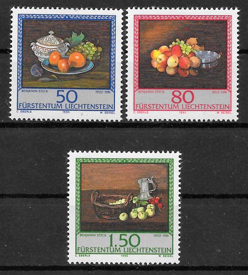 filatelia colección frutas Liechtenstein 1990