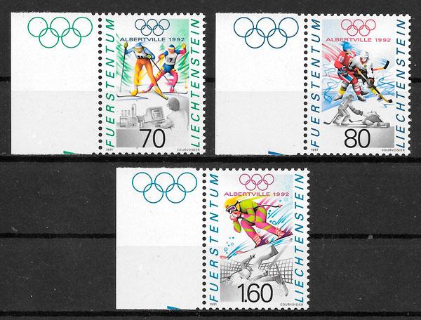 sellos deporte Liechtenstein 1991