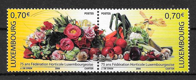 filatelia colección frutas Luxemburgo 2006