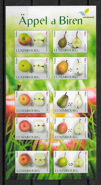 colección sellos frutas Luxemburgo 2015