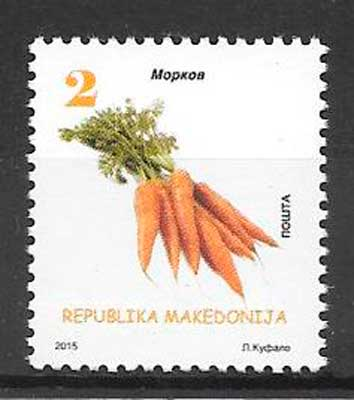 colección sellos frutas y verduras Macedonia 2015