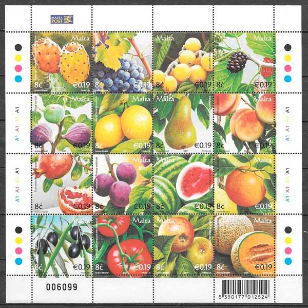 colección sellos frutas Malta 2007