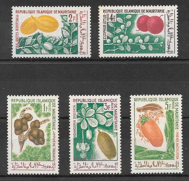 sellos frutas Mauritania 1967
