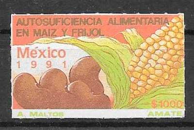 filatelia frutas y verduras México 1991