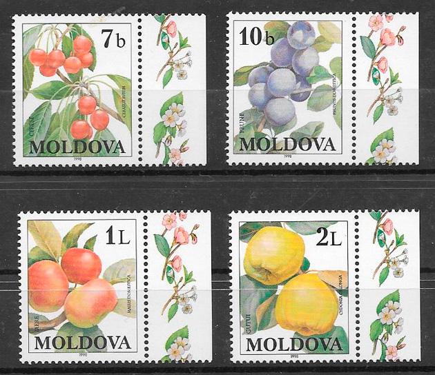 filatelia colección frutas Moldavia 1998