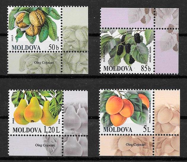 filatelia frutas Moldavia 2009