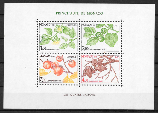 filatelia frutas Monaco 1981