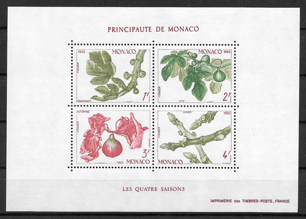 filatelia frutas Monaco 1983