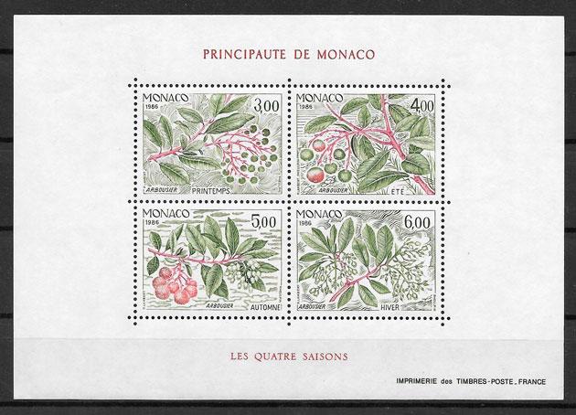 filatelia frutas Monaco 1986