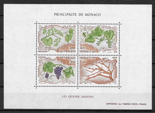 coleccion sellos frutas monaco 1987