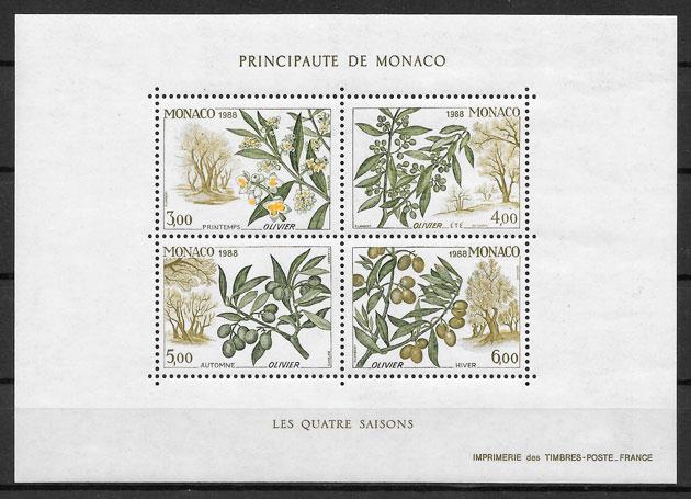 coleccion sellos Monaco frutas 1988