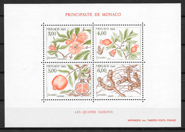 selos frutas Monaco 1989