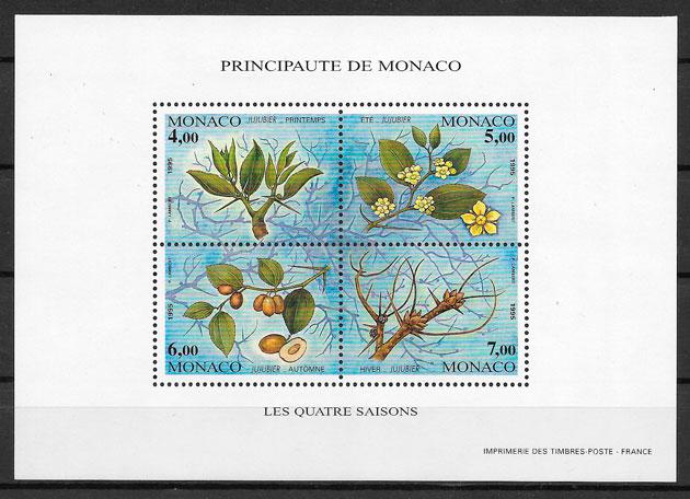 filatelia coleccion frutas Monaco 1995