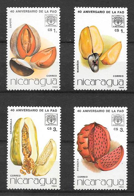 sellos frutas Nicaragua 1986