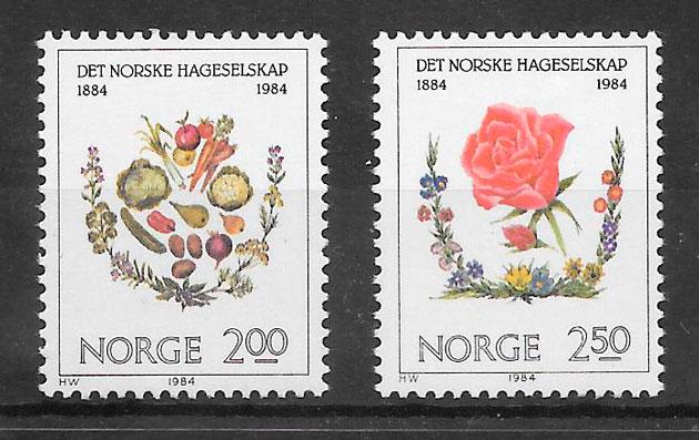 filatelia colección frutas Noruega 1984