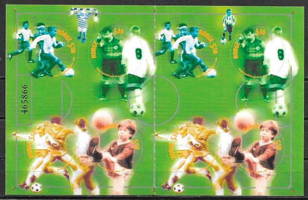 colección sellos fútbol Noruega 2002