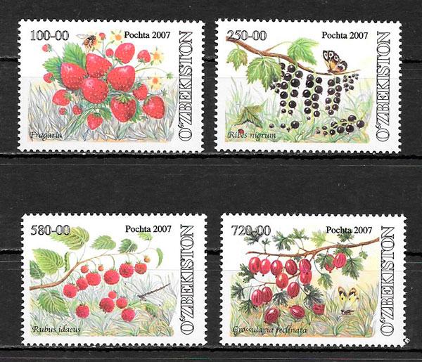 filatelia frutas Ozbekistan 2007