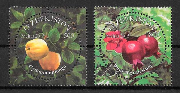 filatelia frutas ozbekistan 2015