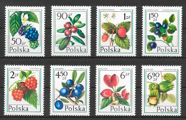 sellos frutas Polonia 1977