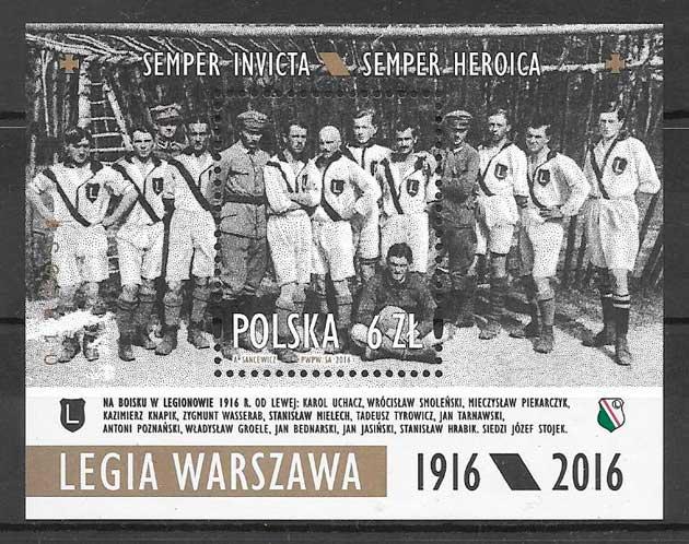 filatelia colección fútbol Polonia 2016