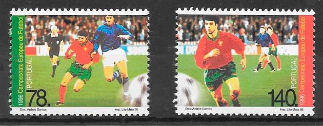 colección sellos fútbol Portugal 1996