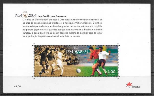 filatelia colección fútbol Portugal 2004