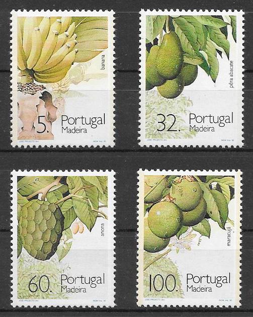 filatelia frutas Portugal Madeira 1990