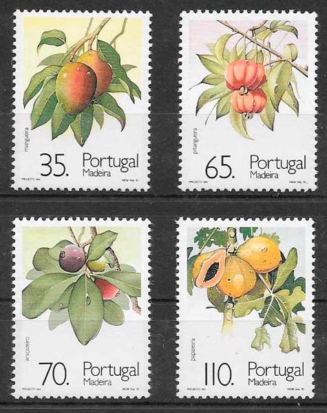 sellos frutas Portugal Madeira 1991