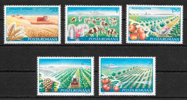 sellos frutas Rumania 1982