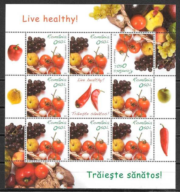 sellos frutas Rumanía 2012