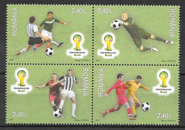 filatelia colección fútbol Rumanía 2014