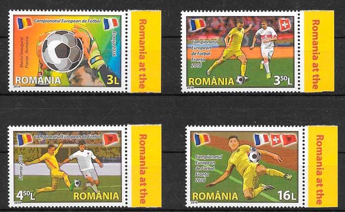 filatelia colección fútbol Rumanía 2016