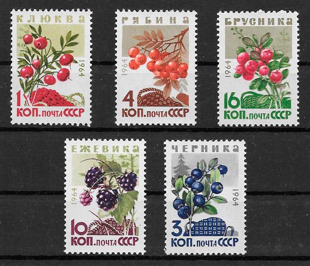 filatelia colección frutas Rusia 1964