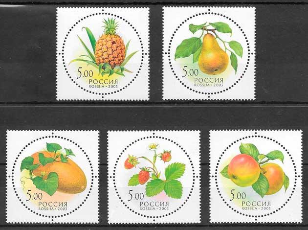 filatelia colección frutas 2003 Rusia