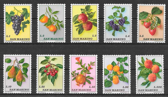 filatelia frutas San Marino 1973