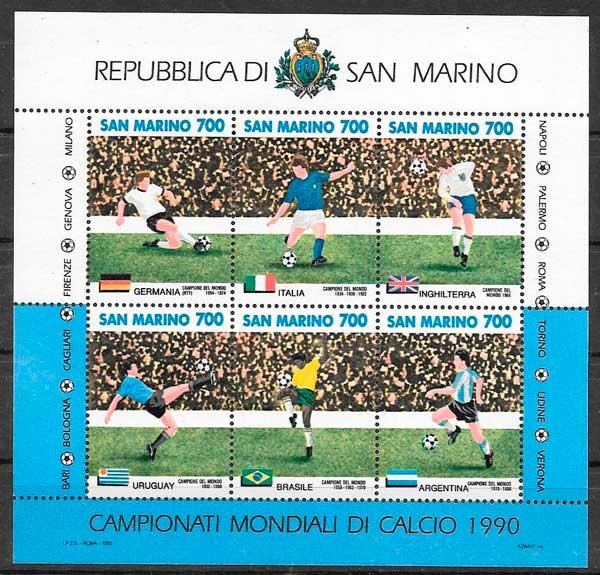 colección sellos fútbol San Marino 1990