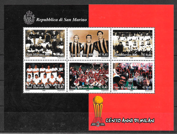 sellos fútbol San Marino 1999